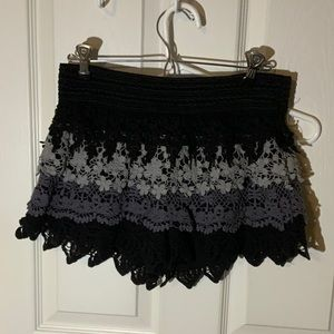 No Boundaries Layered Crochet Shorts